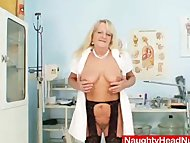 Grandma in uniform spreads blo