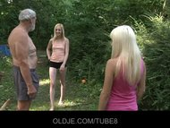 Old woodcutter fucks two horny blondes