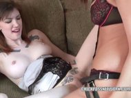 Lavender fucks redhead hottie Indigo with her strapon