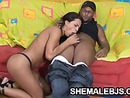 Alessandra Ribeiro - Hungry Shemale Sucking A Big Black Cock