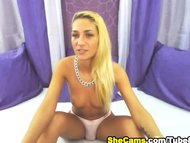 Blonde Shemale Jerks off ...