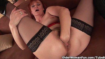 Sleazy grandma in nylons fist