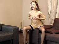 Teen Virginia posing and spreadingon a sofa