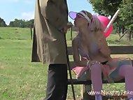 Rollergirl Tinkerbell licks and fucks strangers sticky lollipop in park