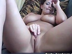Brunette Bustyamateurscom Closeup video: Busty amatuer Leslie masturbates her shaved pussy
