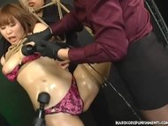 Japanese BDSM Slave Suspended In Rope And Punished By FemDom and Master