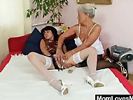 Furry gran licks hot mamma in