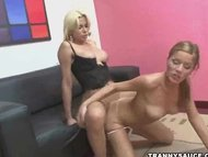 blonde shemale sucks cock...
