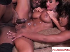 Black Cowgirl Cumonbelly video: Lisa Ann and Misty Stone love a threeway