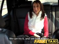 FakeTaxi Brunette enjoys a big thick cock
