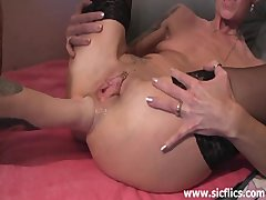 Stockings Milf Skinny video: Extreme anal and pussy fisting carnage
