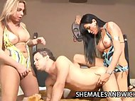 Krys Bertolly and Gabriela Martins: Two Trannies Banging A Lucky Dude