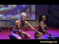 crazy tattooed fetish girls fisting wild on public show stage