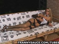 blonde tranny babe gets naked and tugs on her penis