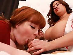 Chubby Cocksucking Cowgirl video: Sexy latina Nurse Sucks Husband Dick as Wife Watches