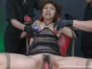 Hot Japanese women with small tits has pussy pounded with vibtators
