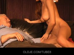 Young girl sucks the old cock