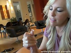 Blonde Cuminhand Cumlicking video: Wifey's Huge Tits In A T-shirt Makes Me Cum