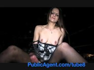PublicAgent Romana gets her tits out in public and fucks in suspenders