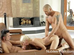 Blonde Blowjob Threesome video: Nubiles Porn - Anal spit roast for cum hungry coed