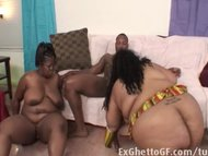 Very big threesome with BBW and a BBC