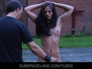 Brunette slave is punished hard in a rough bdsm