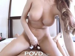 POVD Card player eats out girl then titty fucks her