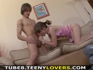 Teeny Lovers - She loves his abs and cock