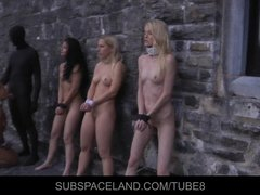 Bdsm Blonde Blowjob video: The castle restraining submission with four babes