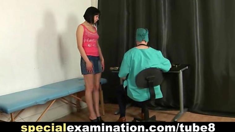 Shy brunettes medical exam