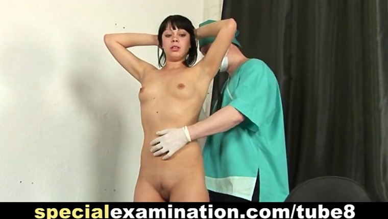 Shy brunettes medical exam