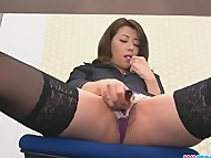 Hojo toying her pussy during an office meeting hairy-cunt