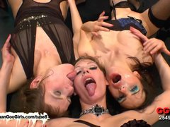 Bukkake Blowjob Brunette video: Susana Viktoria and Luisa three gorgeous brunette bukkake lovers