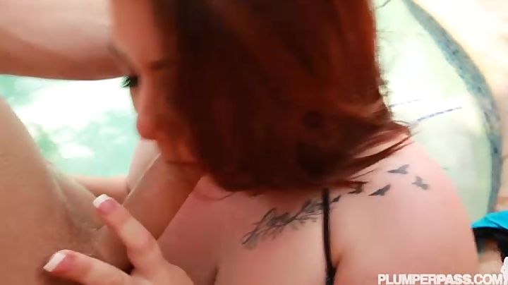 Busty Teen BBW Gets Wet with Hose and Fucked in Pool