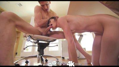 Tiny4K Teen student sucks huge cock under a desk