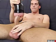 Thin twink strokes his ha...
