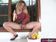 Girls Out West - Hairy amateur blondie eating banana