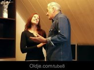 Grateful young redhead teen gives grandpa sexual pleasures