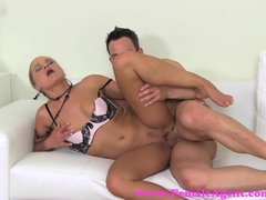 Blonde Blowjob video: FemaleAgent. Sexy stud shoots his glorious goo over MILF agents tongue