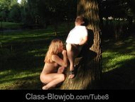 Alessandra Jane nude in the garden making an erotic blowjob