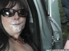 Gangbang,Cuckold,Swingers,Public,Outdoor,Brunette,Facial,Milf,Car,Wife