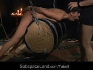 Submissive slut waxed and mouth fucks in a bondage game