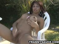Latina shemale babe tugging on her cock outdoors