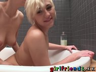Girlfriends wash each other and make hot passionate pussy eating sextape