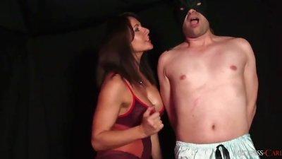 Hot dominant Mistress ass fucks dirty sissy slut with big electro strapon