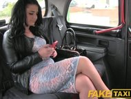 FakeTaxi Young black haired British chick fucking a taxi driver