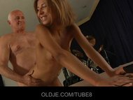 Old man licking fresh young pussy after he gets a deep blowjob