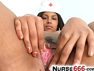 Chubby latina Manuela undresses nurse uniform to show her big tits