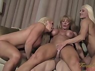 Three Muscle Babes and One Male Slave