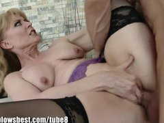 Blowjob Cocksucking Cougar video: MommyBB Real MATURE Woman fucking her STEPSON